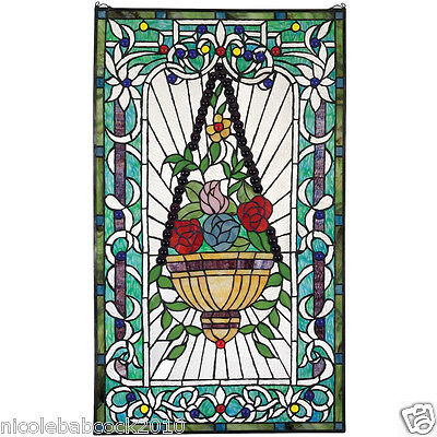 Stunning Victorian Style Rich Tones Of Flowers 400 Handcut Stained Glass Window