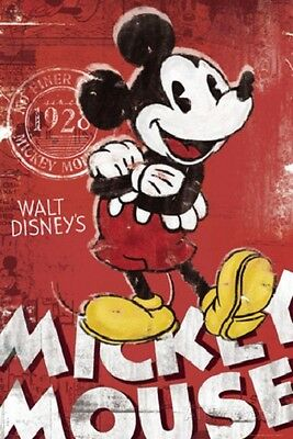 DISNEY MICKEY MOUSE CLASSIC RED POSTER NEW 24x36 FAST FREE SHIPPING