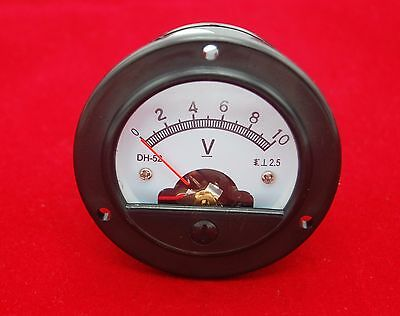 DC 0-10V Small round  Analog Voltmeter Analogue Voltage panel meter DH52