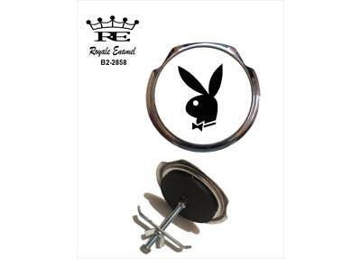 Royale Classic Car Grill Badge + Fittings WHITE PLAYBOY BUNNY 1960's - B2.2858