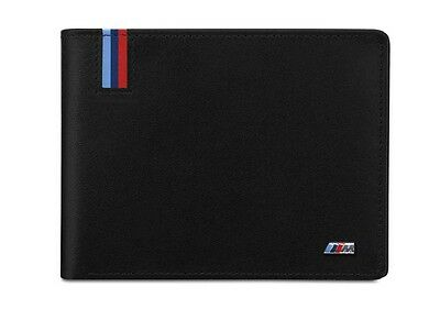 BMW Genuine Mens M Collection Wallet Coin Holder Black Leather 80212410935