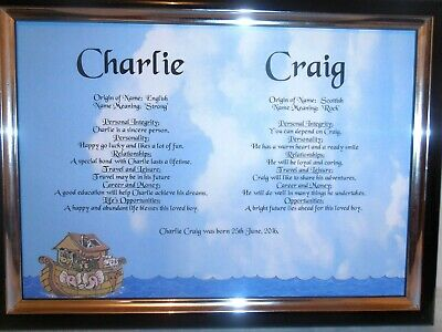 MEANING of BABY'S FIRST and MIDDLE NAME, CHRISTENING, BAPTISM GIFT sent priority