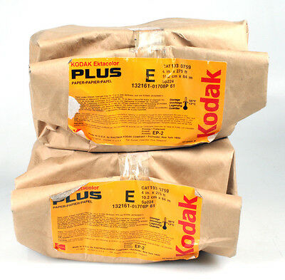KODAK EKTACOLOR PLUS PAPER ROLL 4in x 275ft, NEVER OPENED, SET OF 2