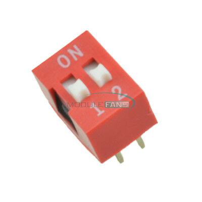 20pcs Red 2.54mm Pitch 2 Position Way Slide Type DIP Switch Module New