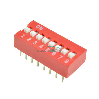 100pcs Red 2.54mm Pitch 8 PositionWay 8-Bit Slide Type DIP Switch Module New