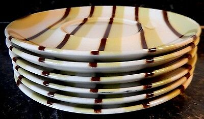 W S George Lime Green & Dark Brown Stripes Saucers (6) VGC+ ~ Fast Shipping!