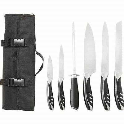 7 Slitzer Stainless Professional Kitchen Knife Cutlery Cooking Knives Chef Case