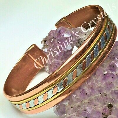 MAGNETIC Solid Copper Bracelet - 3 COLOURED BAND - Healing Arthritis Relief MB34