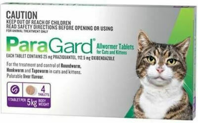 Paragard Allwormer Tablets for Cats and Kittens up to 5kg - Pack of 4 tablets