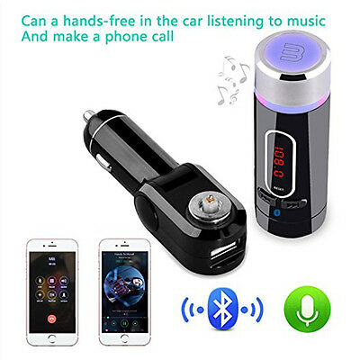 Car Bluetooth HandsFree Calling System With FM Transmitter Support Music Control
