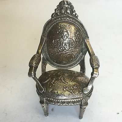 Antique Solid Silver Dutch Novelty Miniature Chair By 1901 Chester