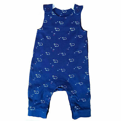 Whale Stripe Star Dungarees 100% cotton Navy Grey Blue 0-3 3-6 6-9 months