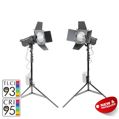 LED100D MKII+ Twin Studio Light Kit with V-Mount Battery Plate 100W Video Event