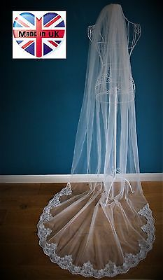 Bridal Veil *1tier Cathedral Length*Bespoke*Ivory/Off white*Wide corded Lace*