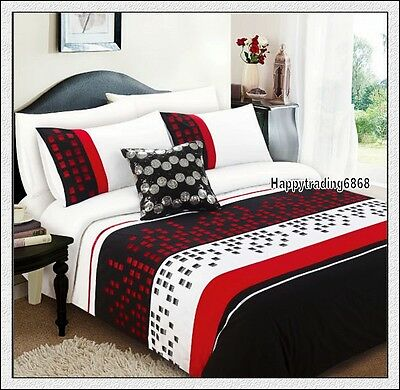 280TC Black Red White Pintuck Embroidered * 3pc QUEEN QUILT DOONA COVER SET