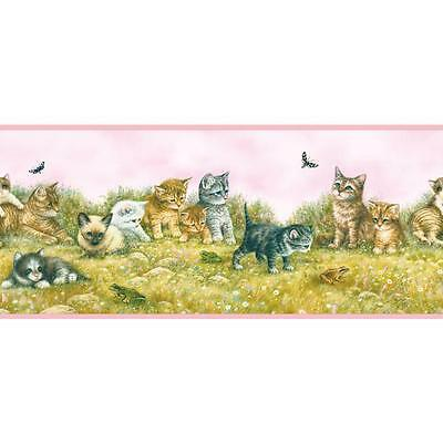 Kitten / Kittens and Playmates with Pink Edge Cat Wallpaper Border YK0130BD