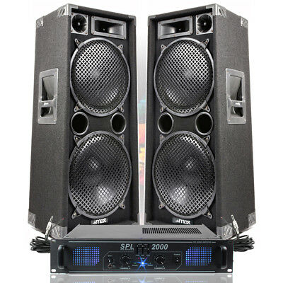 "2x Max Dual 12"" PA Speakers Disco Party Sound System DJ Amplifier Amp 2000W"