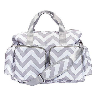 Trend Lab Gray and White Chevron Deluxe Duffle Diaper Diaper Bag NEW