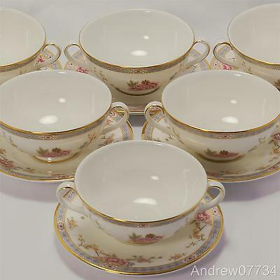 Royal Doulton Canton H5052 Six Soup Cups / Bowls & Saucers - Firsts