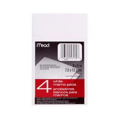 Acco/Mead 57130 4-Pack 3 x 5-Inch White Memo Pads - Quantity 1
