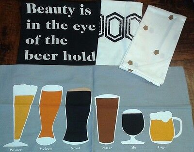 "4 Pack  BAR TOWELS - ""Eye of the Beer Holder"" ~ Kitchen Towels~ GREAT GIFT"