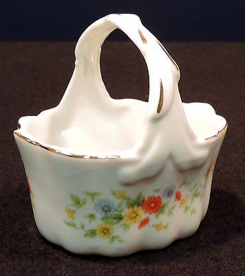 Small Lefton basket orange yellow blue flowers green leaves gold trm Japan #2677