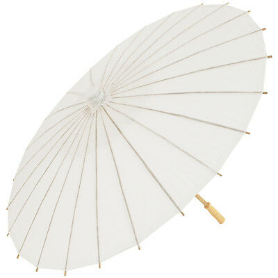 Wedding White Chinese Paper and Bamboo Parasol