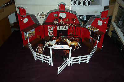 Rare Breyers Paddock Pals Ranch Playset 4 With Riders & Horses W/Tack