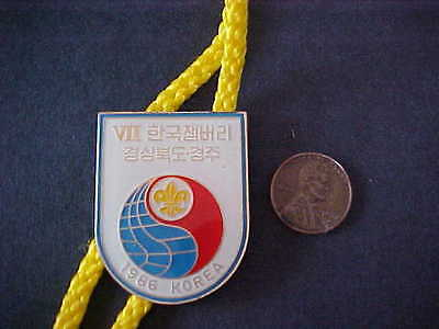1986 Korea Scouts Woggle Badge Slide with Cord
