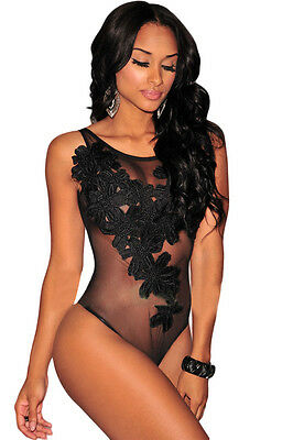 Floral Embroidered Sheer Mesh Bodysuit Teddy Lingerie