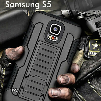 TPU Case Cover For Samsung Galaxy S5 Heavy Duty Shockproof Kickstand Armor