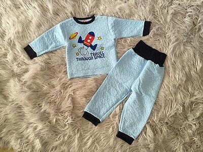 Baby Boys Thermal long sleeve Pyjamas Set - Rocket Space - size 0/1/2 wide waist