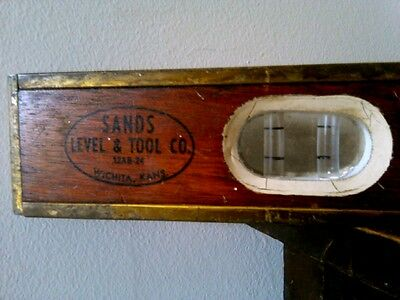 Vintage Sands Level & Tool Co. 12 AB-24 Mahogany Wood Brass Bound Level Accurate