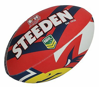 "NRL Sydney Roosters Logo 11"" Kids Small Football Foot Ball STEEDEN 2017 Gift"