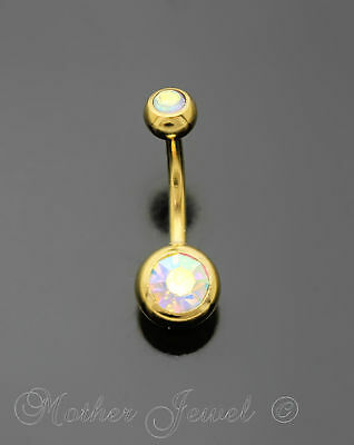 14G Yellow Gold Gp Surgical Steel Aurora Cz Barbell Belly Button Navel Ring