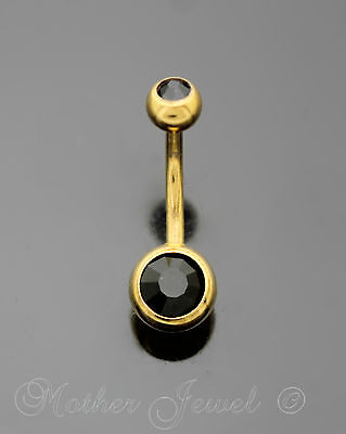 14G Yellow Gold Gp Surgical Steel Jet Black Cz Barbell Belly Button Navel Ring