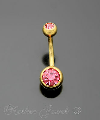 14G Yellow Gold Gp Surgical Steel Pink Cz Barbell Belly Button Navel Ring