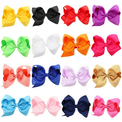 """4.7"""" Large Kids Girls Bow Alligator knot Clips Ribbon Hair Clip Accessories"""