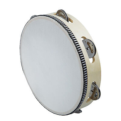 "8"" Musical Tambourine Drum Round Percussion Gift for KTV Party WD"