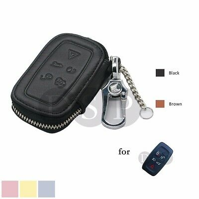 Genuine Cow Leather Zipper Bag Cover Holder for LAND ROVER Smart Remote Key 5B