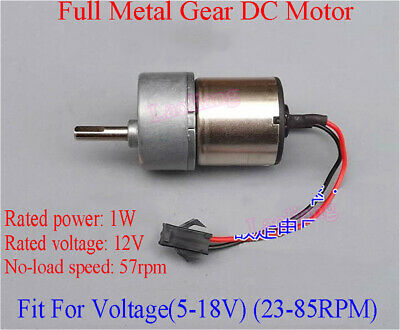 DC 12V 57RPM Full Metal Reduction Gearbox Gear Motor Strong Torque For Robot DIY