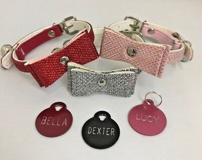 Cat kitten Collar Safety Bowtie Glitter sparkly bling with Engraved ID tag