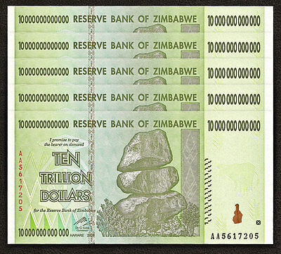 ZIMBABWE 10 Trillion Dollars X 5 PCS AA 2008 P-88 1/20 Bundle UNC