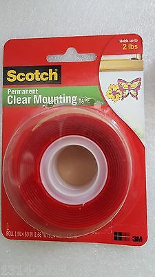 3M Scotch 4010 Permanent Clear Mounting Double Sided Tape Holds upto 2 lbs