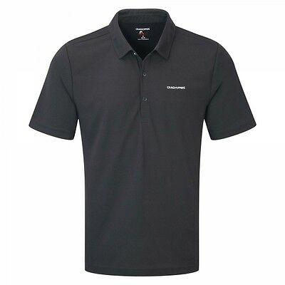 Craghoppers Nosilife Insect Repellent Mens Nemla Walking Tee Polo Shirt - Black