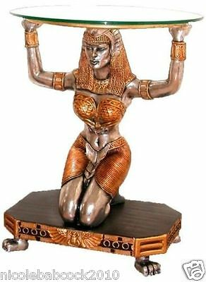 Ancient Egyptian Royalgoddess Of Law Truth & Justice Sculptural W Glass Top