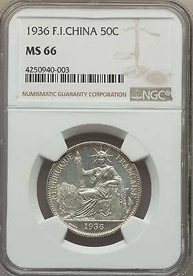 1936 French Indo-China 50 Cents NGC MS 66, Superb, None Finer, Vietnam Cochin