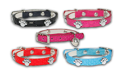 Cat Collar Diamante Coller Paw Studded Safety Elastic Bell Leather Pink Black