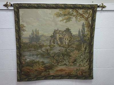 TUDOR COUNTRY SCENE DESIGN WALL HANGING TAPESTRY, With a Mounting Bar