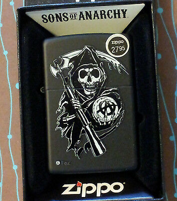 Zippo 28504 Sons of Anarchy Reaper Black Matte NEW in box Windproof Lighter